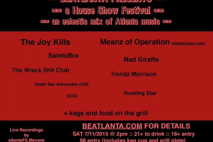 A BEATLANTA HOUSE SHOW FESTIVAL :: 9 Bands & Artists :: Beer :: Food :: Fun :: Sat 7/11/2015