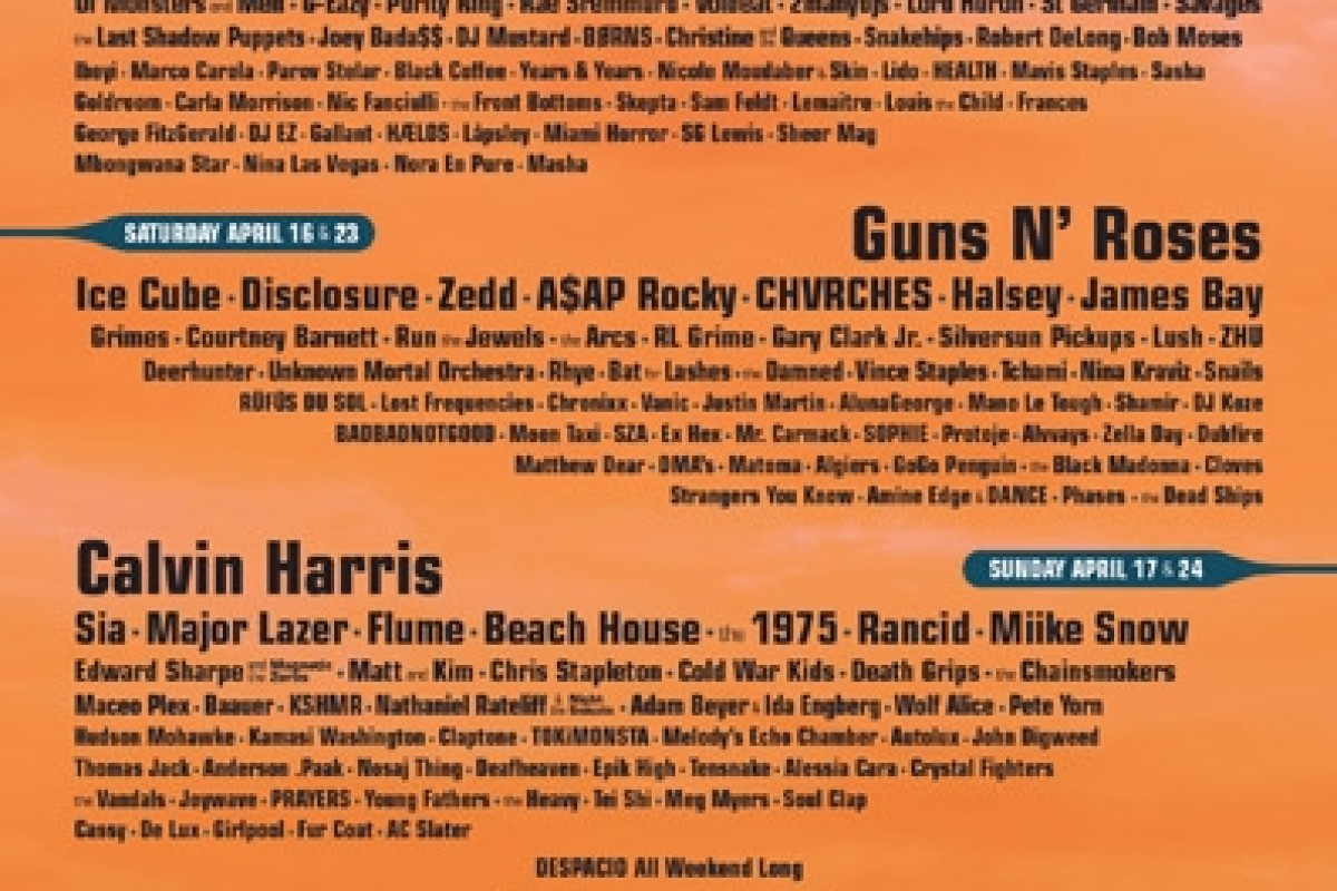 COACHELLA 2016 LINEUP – Guns N' Roses and LCD Soundsystem Reunions