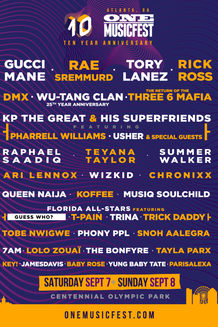 One MusicFest 2019 in Atlanta, GA :: Lineup Out now! – Wu-Tang Clan, Gucci Mane, DMX and many more