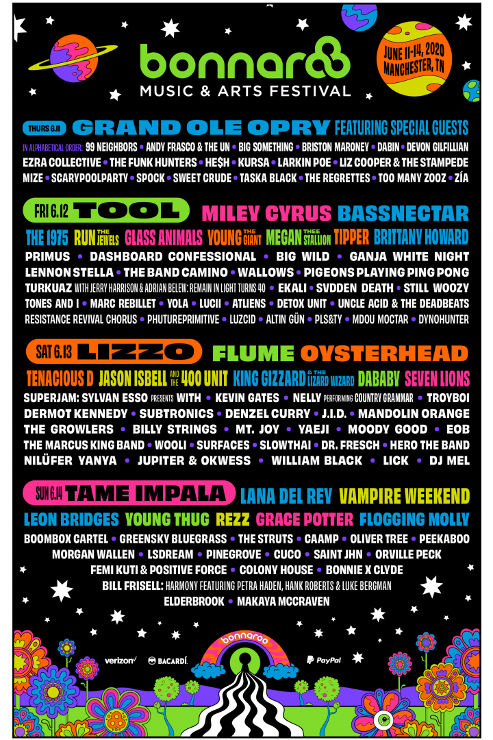 Bonnaroo 2020 :: Lineup Out Now! Tool, Tame Impala, Vampire Weekend, Glass Animals and more! Get tickets this Thur 1/9/20