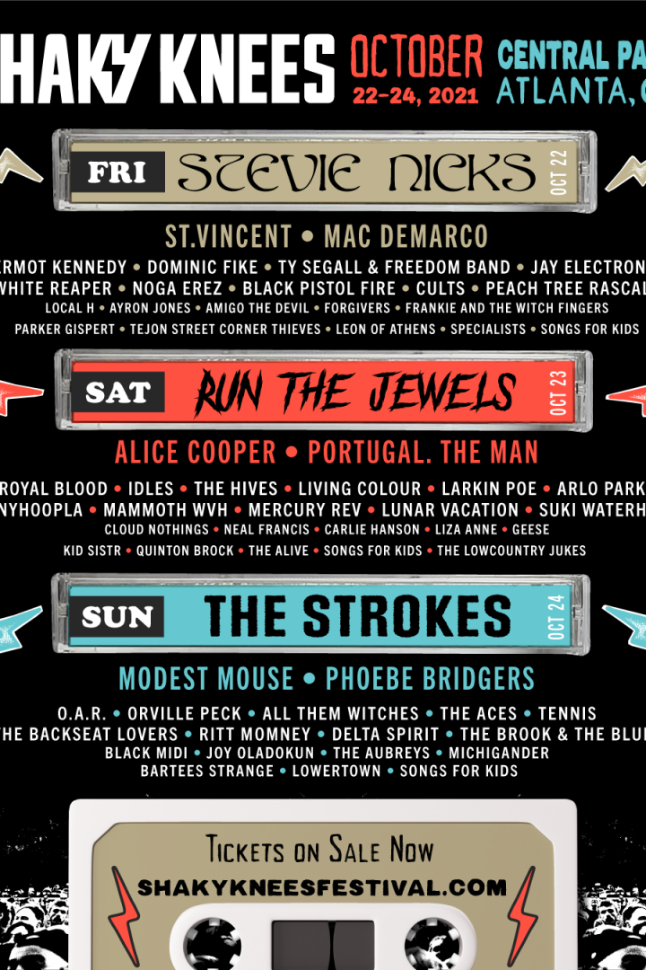 SHAKY KNEES 2021 – LINEUP AND TICKETS AVAILABLE NOW – STEVIE NICKS, RUN THE JEWELS, MODEST MOUSE, THE STROKES, ALICE COOPER AND MORE…